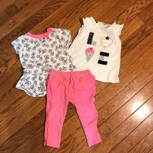 3 pieces bundle, 2 tops and pants size 9 months